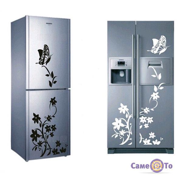 Наклейки на холодильник Цветы и Бабочки - разные цвета!