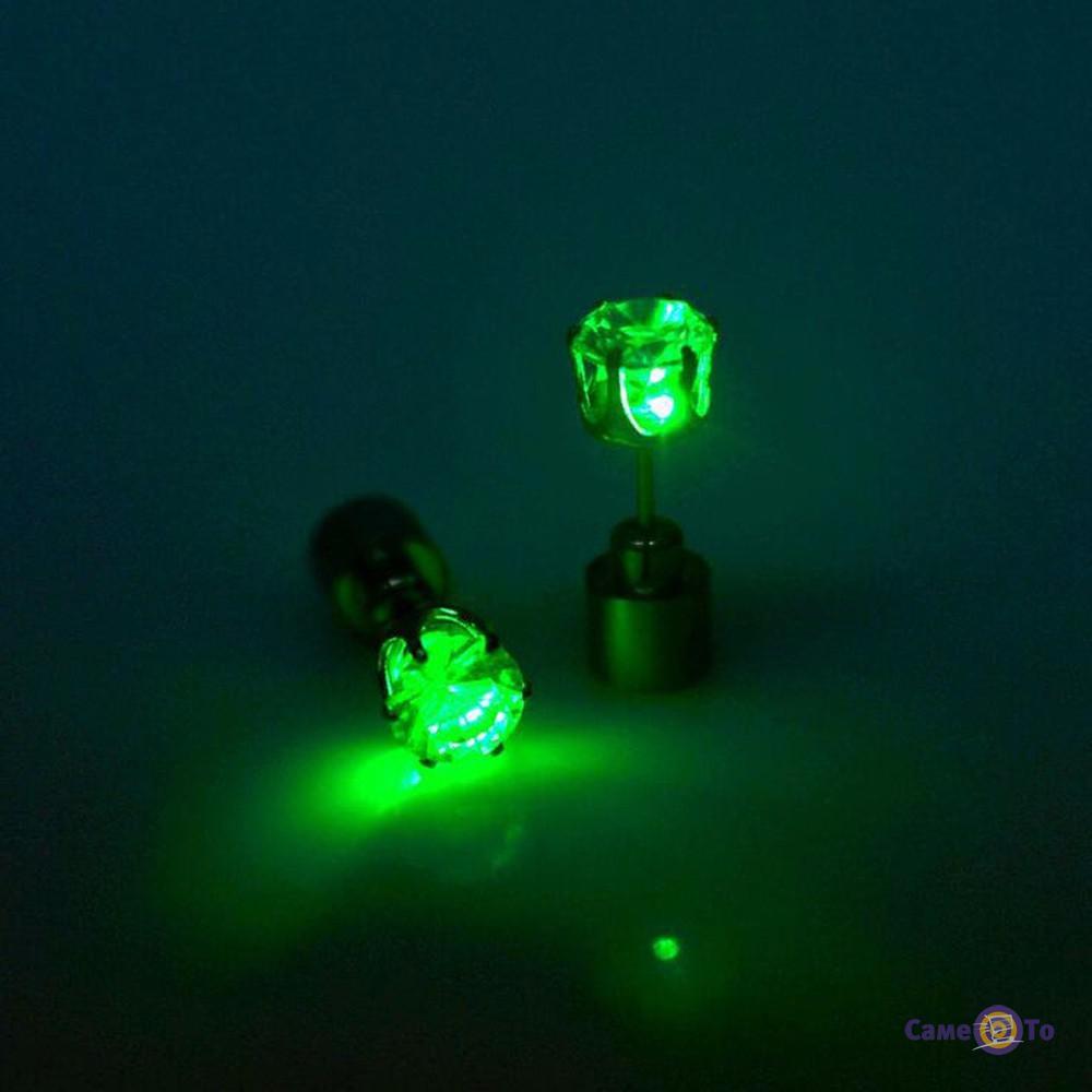 Светящиеся LED сережки гвоздики (цвета в ассортименте)
