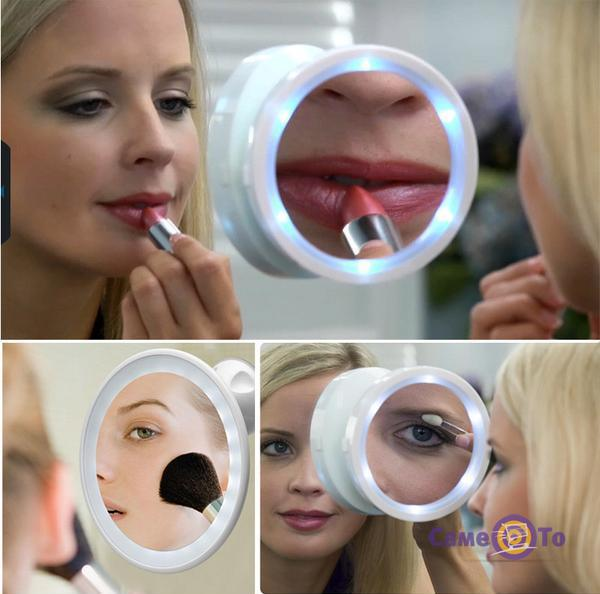 Зеркало с увеличением и подсветкой на присоске Swivel Brite 360