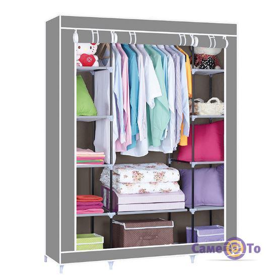 Портативный тканевый складной шкаф-органайзер для одежды на 3 секции