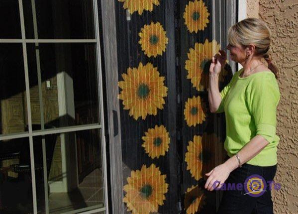 Москитная сетка-шторка на дверь на магнитах Insta Screen (Magic Mesh) с подсолнухами