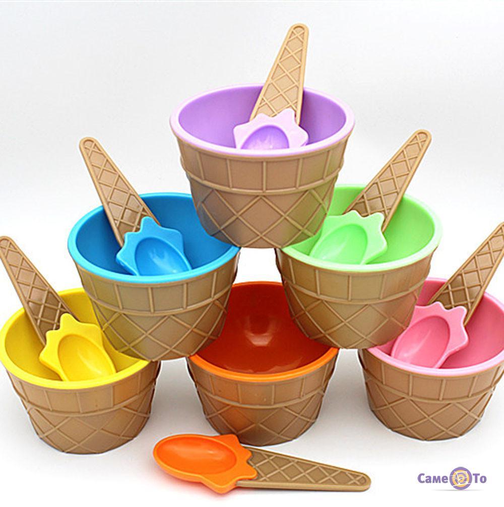 Мороженица с ложечкой (креманка для мороженого) Happy Ice Cream