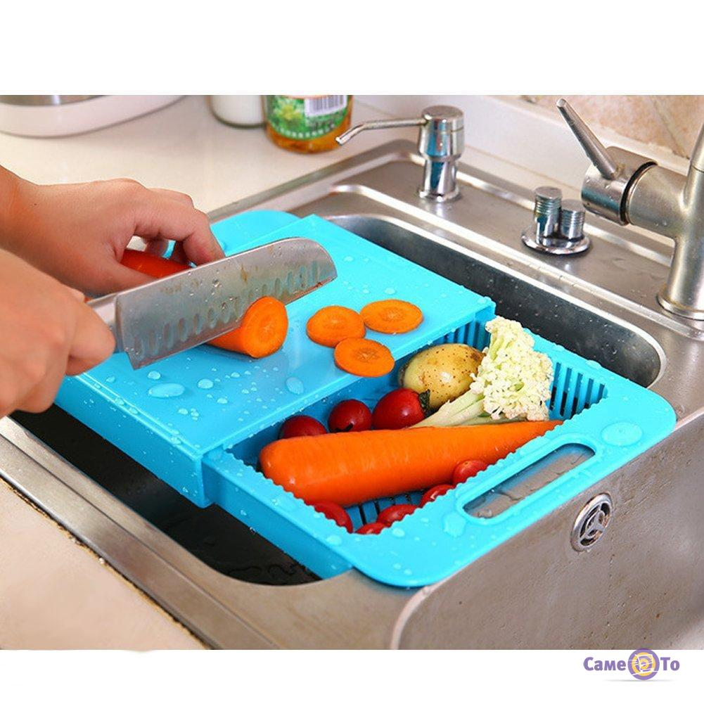 Кухонная разделочная доска на мойку для мытья, нарезки, сушки