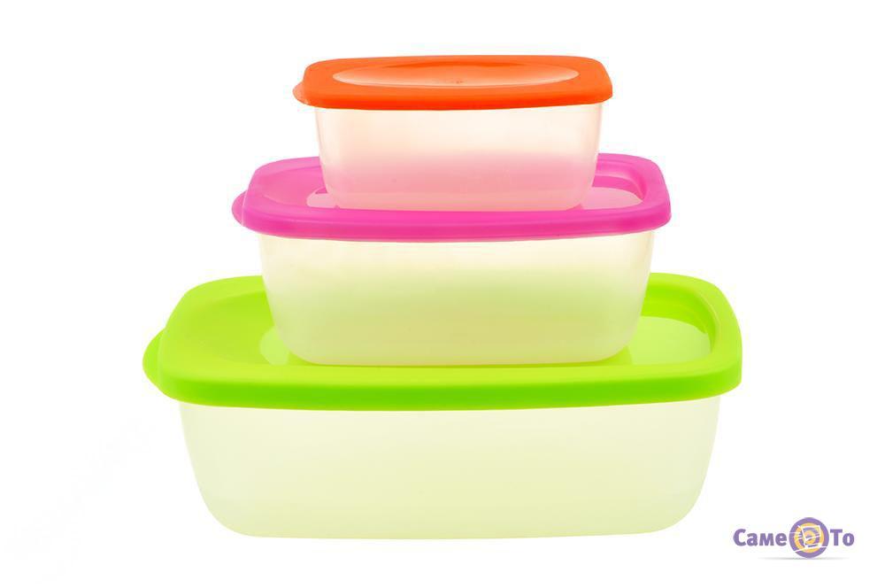 Набор пластиковых контейнеров (лотков) с крышками для хранения пищевых продуктов, 3 шт