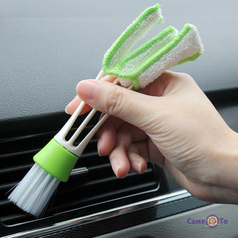 Двусторонняя щетка для чистки жалюзи, автомобильного кондиционера и радиатора