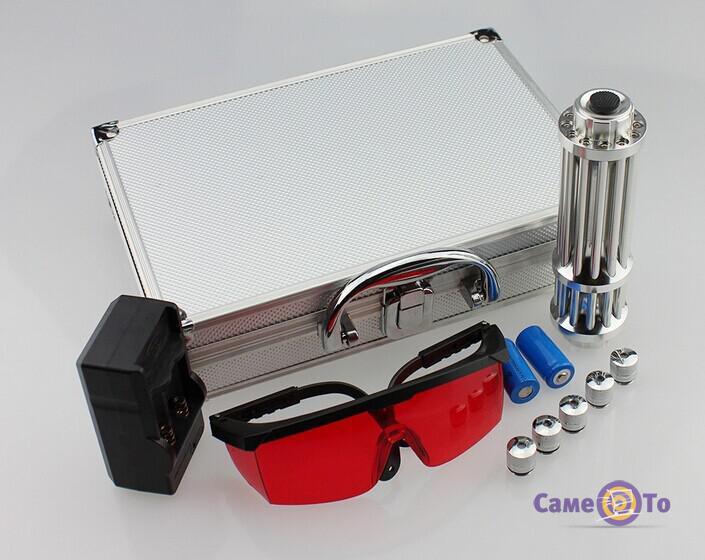 Мощная лазерная указка с насадками 50000mw Blue Laser