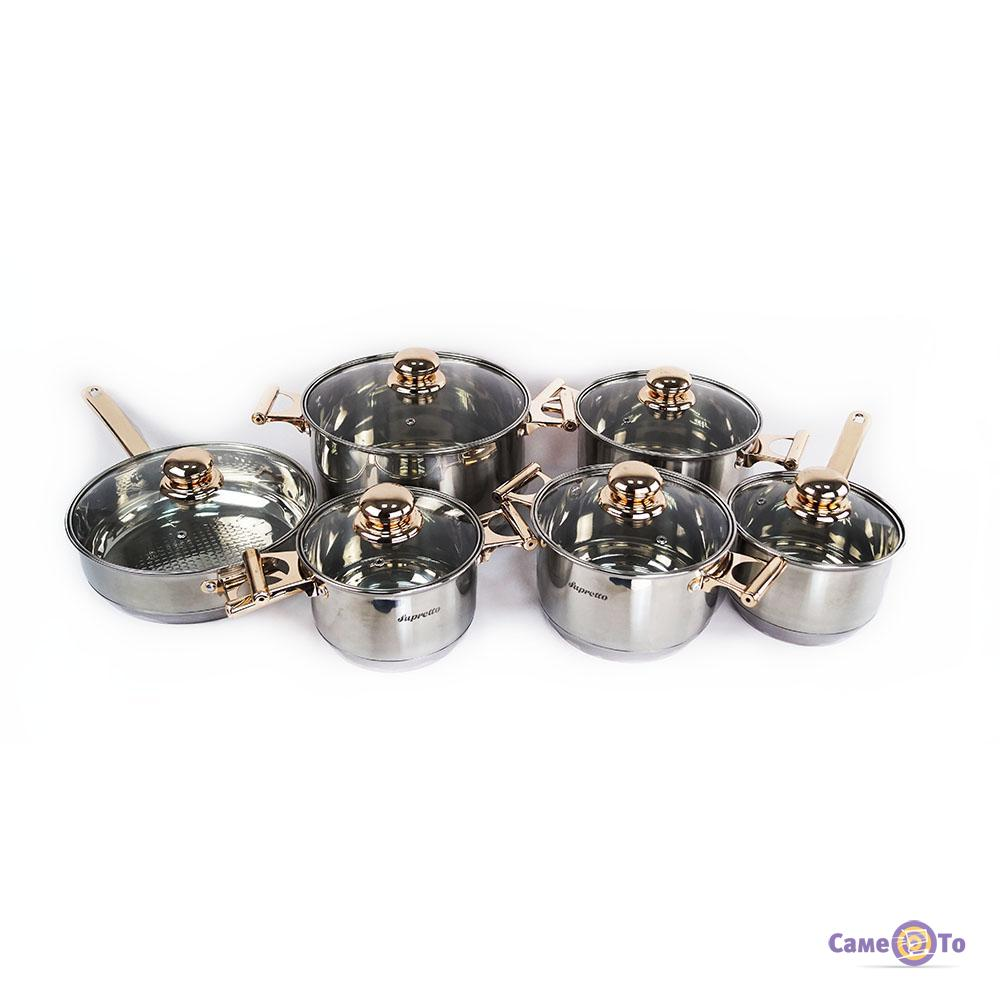 Набір кухонного посуду з нержавіючої сталі Supretto, 12 предметів