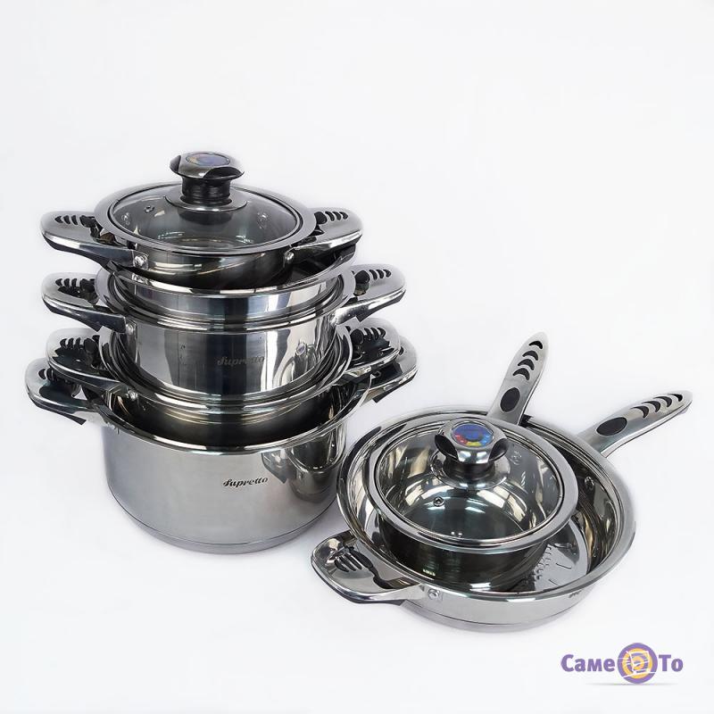 Набор кухонной посуды из нержавейки Supretto, 16 предметов