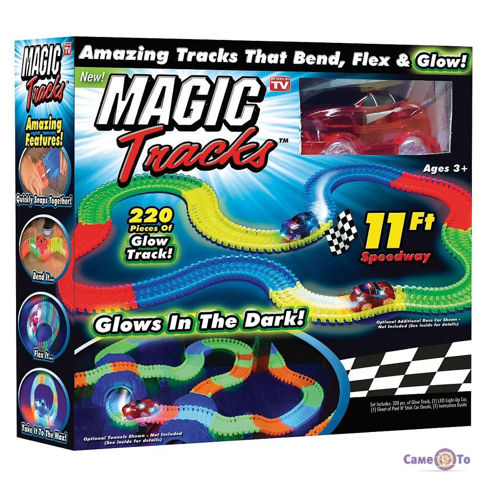 Детская игрушечная дорога Magic Tracks, 220 деталей, светящаяся + машинка