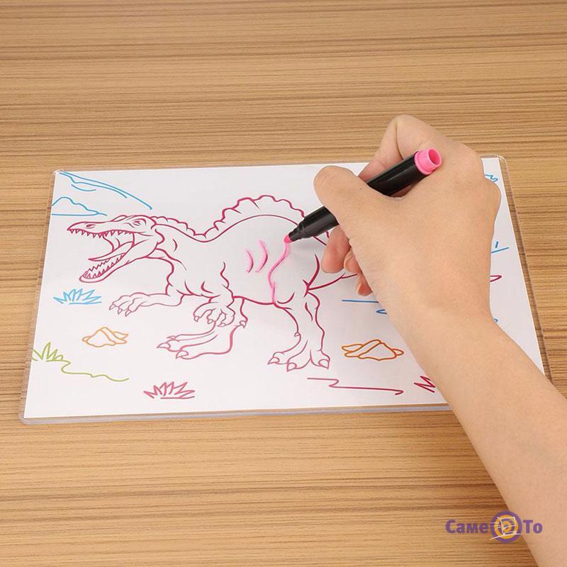 Детская электронная доска для рисования маркером 3D Magic Drawing Board