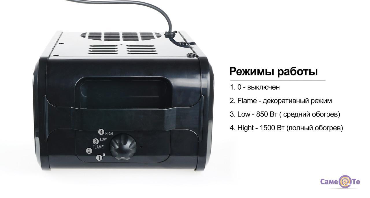 Электрический камин для квартиры (электрокамин), 1500 Вт