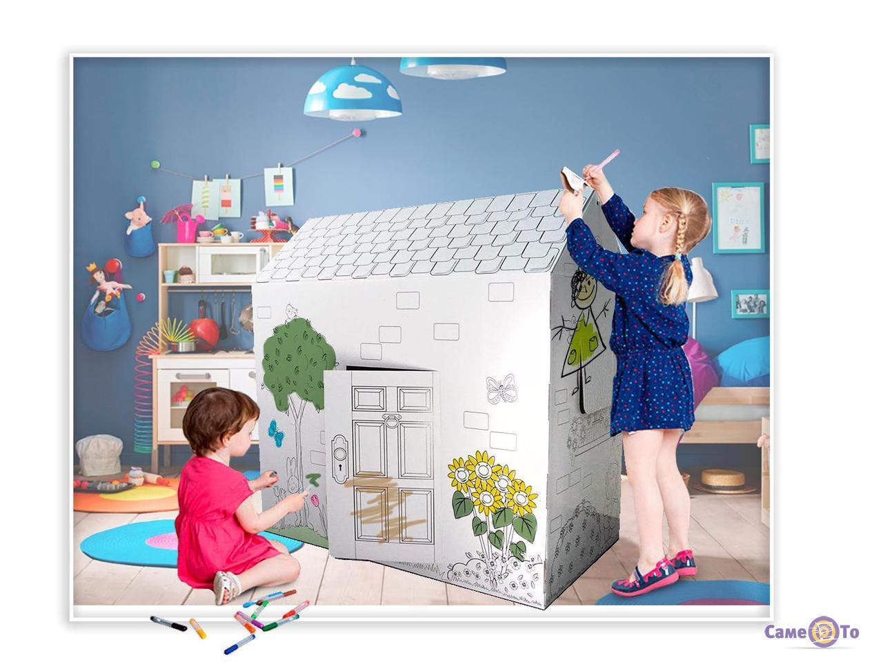 Раскраска домик из картона - детский картонный домик для раскрашивания