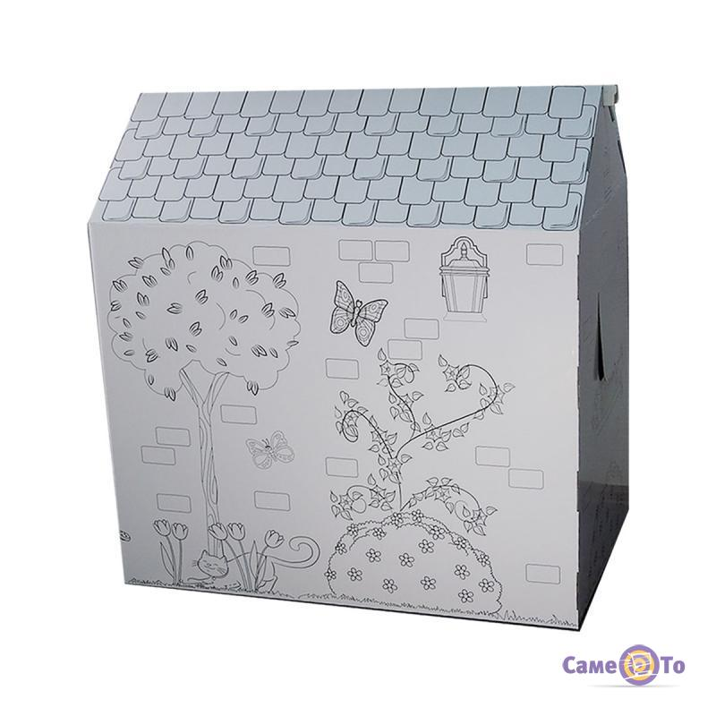 """Будинок з картону """"Дерево і квіти"""" - це білий картонний будиночок розмальовка для дітей"""