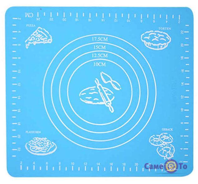 Силиконовый антипригарный коврик для выпечки и раскатки теста 29x26 см.