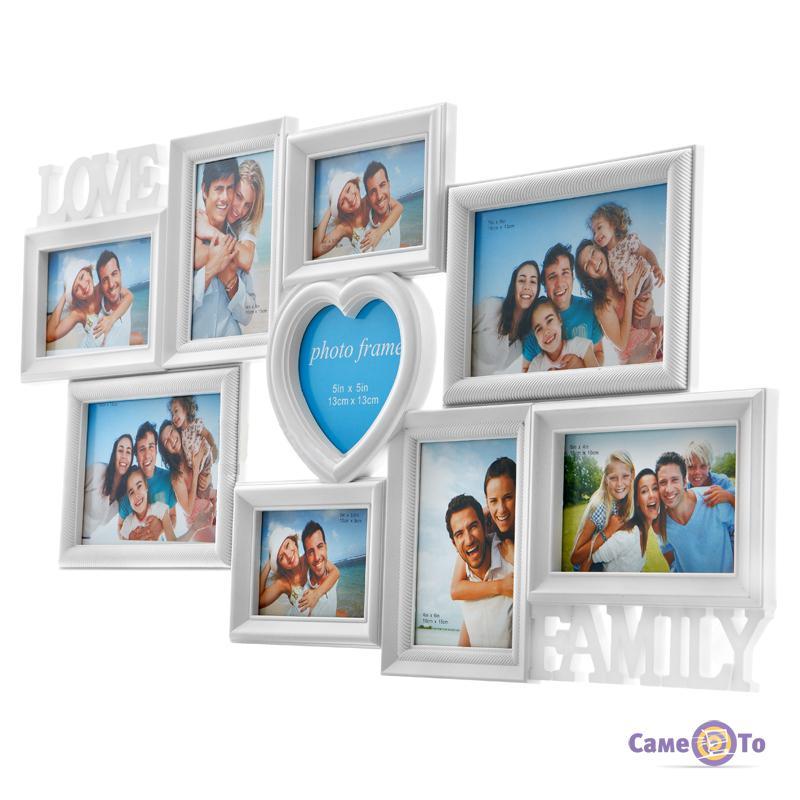 Мультирамка на 9 фотографий Любовь и Семья