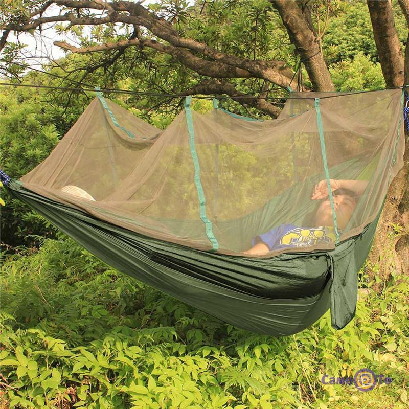 Подвесной нейлоновый туристический гамак с москитной сеткой