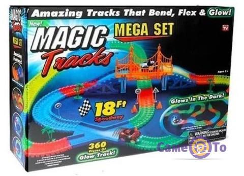Детская игрушечная дорога Magic Tracks, 360 деталей, светящаяся + 2 машинки