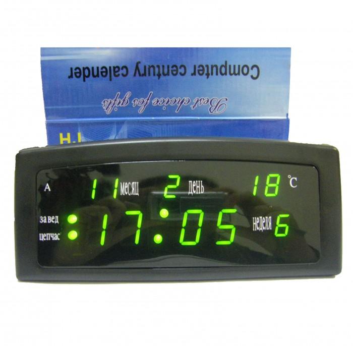 Настольные часы HJ 909-A: календарь, термометр, будильник