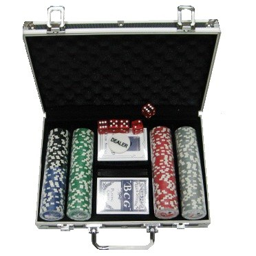 Покерный набор 200 фишек, кейс - черный