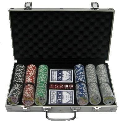 Покерный набор 300 фишек, кейс - металлик