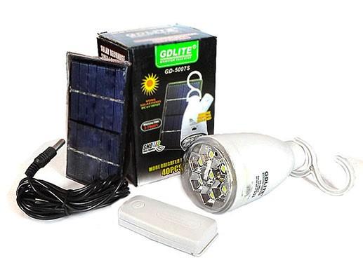 Аккумуляторная led лампа GDLITE GD-5007s на солнечной батарее
