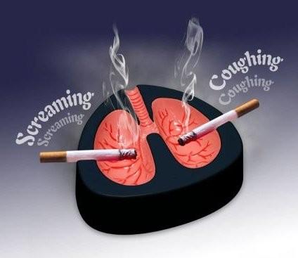 Кашляющая пепельница «Трудовые будни легких»