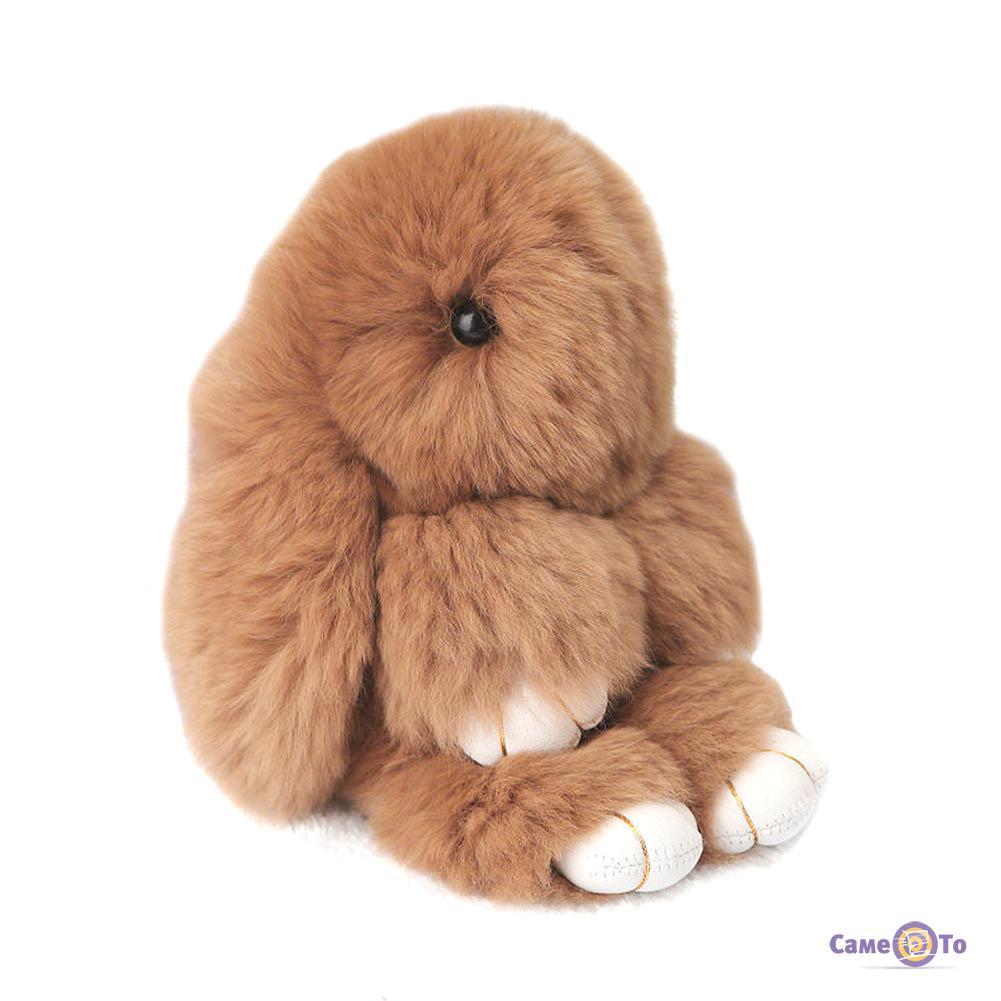 Кролик-брелок из натуральной шерсти 14 см. (цвета в асс.)