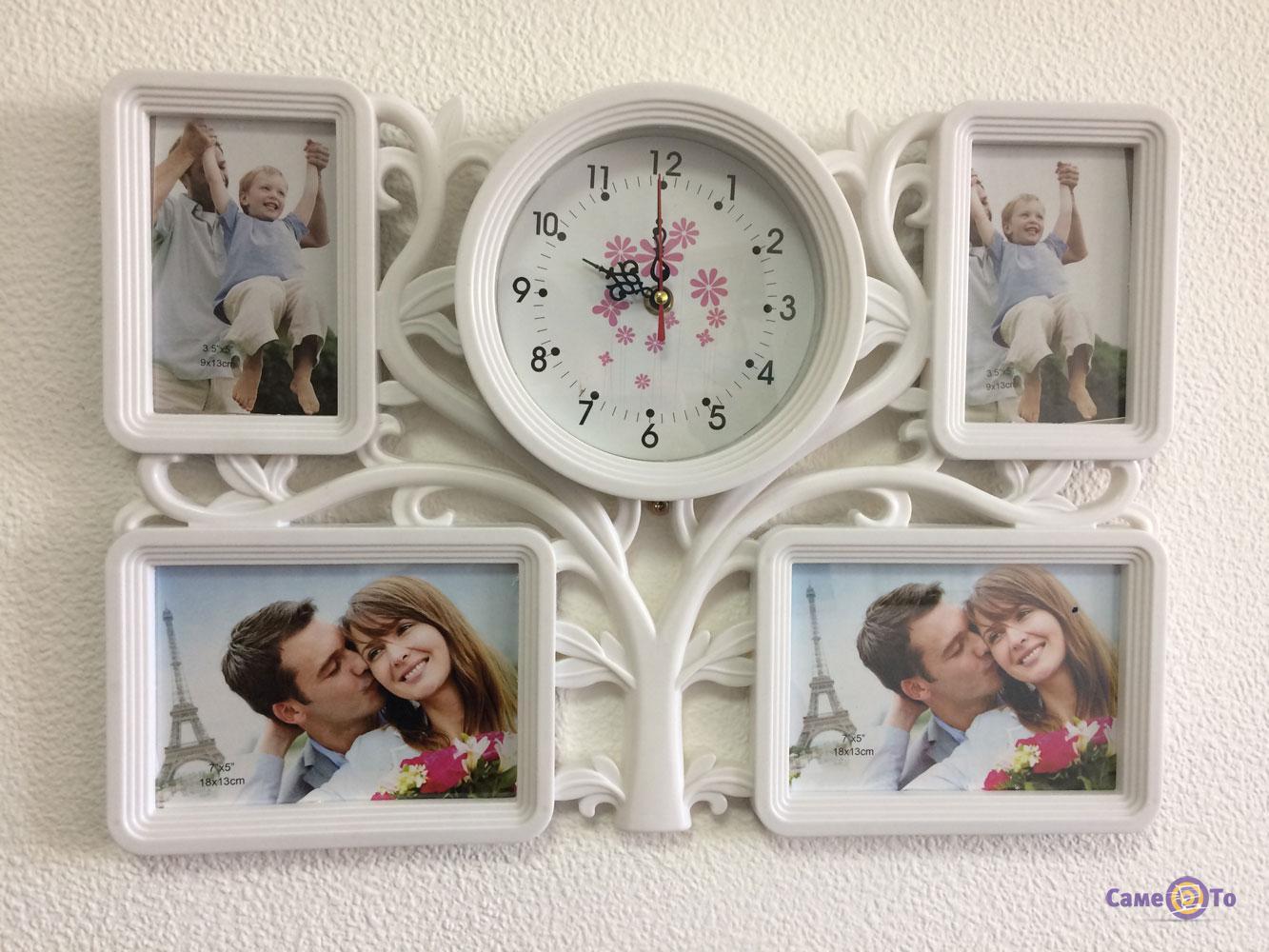 Мультирамка-коллаж для фотографий с часами на стену Family Tree