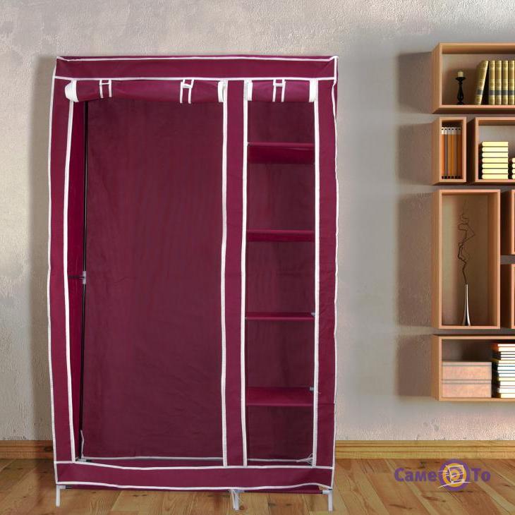 Портативный тканевый шкаф-органайзер для одежды на 2 секции