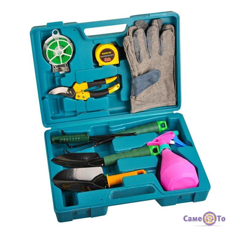Набор садовых инструментов и дачного инвентаря в пластиковом чемодане, 9 предметов