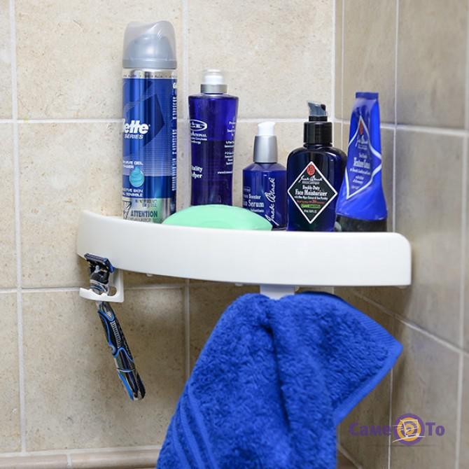 Угловая навесная пластиковая полка в ванную комнату на вакуумных присосках Snap Up Shelf