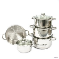 Набір кухонного посуду - каструлі з нержавіючої сталі Giakoma G-5832