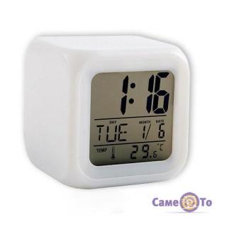 Настольные электронные часы-хамелеон с подсветкой Glowing LED Color Change