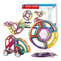 Дитячий магнітний конструктор з колесами Magical Magnet, 56 деталей
