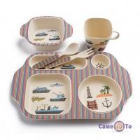 Набор детской экологической посуды из бамбукового волокна, 5 предметов - Домик в саду + корабли