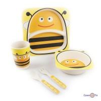 Набор детской бамбуковой посуды для еды, 5 предметов - Сова + пчёлы