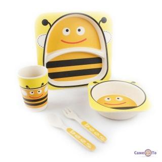 Набір дитячого бамбукового посуду для їжі, 5 предметів - Сова + бджоли