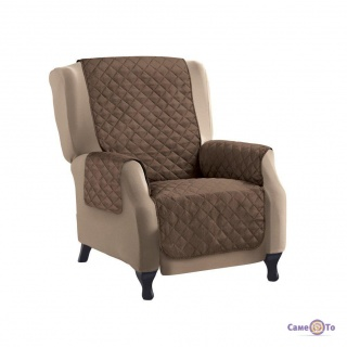 Двостороннє стьобане покривало - накидка на крісло Couch Coat 155х46 см (Коричнева)