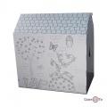 """Дом из картона """"Дерево и цветы"""" - это белый картонный домик раскраска для детей"""