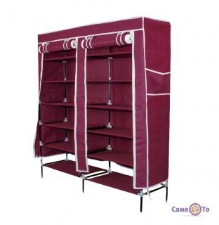 Портативна збірна тканинна шафа на каркасі для зберігання одягу і взуття 110х30х121 (4509)