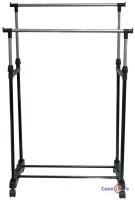 Металева вішалка для одягу на колесах Douple-Pole, чорний-сірий