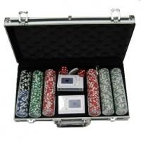Покерний набір 300 фішок, кейс - чорний