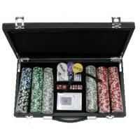 Покерний набір 300 фішок, кейс - шкіра