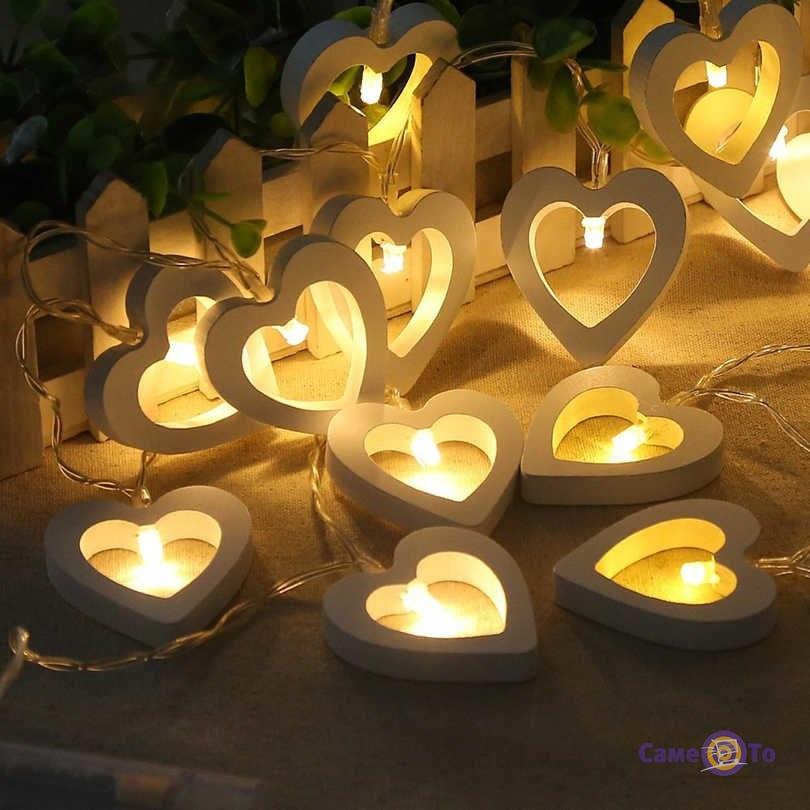 Cветодиодная гирлянда - гирлянда из сердечек, на батарейках