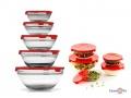 Стеклянные контейнеры для еды, 5 шт. с красной крышкой, пищевые контейнеры