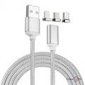 Магнитная зарядка для телефона 3 в 1 Micro-USB, Lightning, Type-C (серебристая)