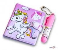 Розовый блокнотик для девочки Единорог - маленький блокнот с ручкой