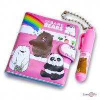 Блокнотик для девочек с медведями - розовый блокнот + маленькая ручка