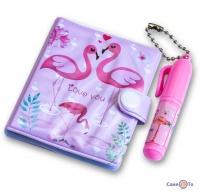 Маленький блокнот для ребенка Фламинго (розовый) - блокнотик + ручка для девочек