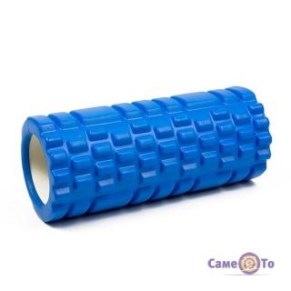 Ролик для для масажу спини і занять йогой, фітнесом голубий з великими секціями
